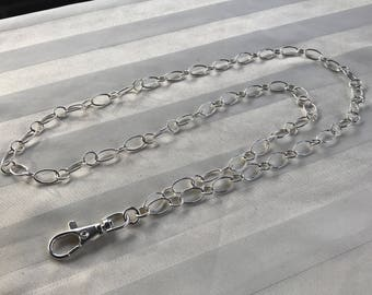 Sterling Silver Chain ID Badge Lanyard Large Smooth Oval and Round Links