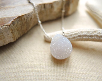 Natural White Druzy Necklace, Sterling Silver Necklace, Druzy Stone Necklace, Druzy Jewelry Gifts For Her, Silver Chain Necklace