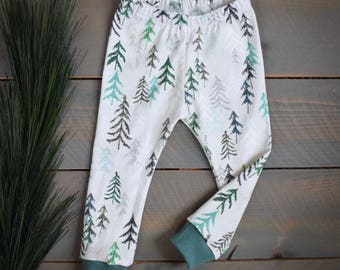 baby leggings forest tree, forest trees toddler pants, children pants forest woodland, green tree baby pants, newborn boy forest pants