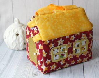 Fabric dollhouse kit Modern dollhouse  Doll House Bag Gift for girl Travel dollhouse