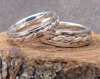 Inlayed Matching Wedding Band Set of Argentium Sterling Silver and 14K Yellow Gold