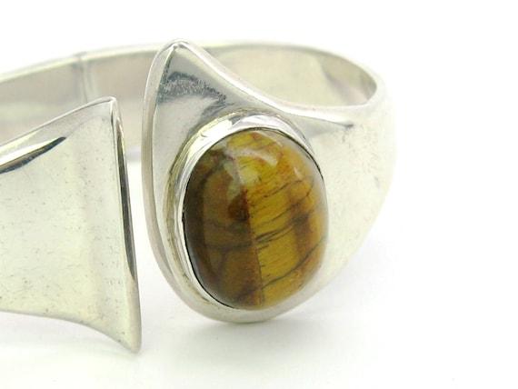 Vintage Minimalist Sterling Silver Tigers Eye Hinged Bangle Bracelet Taxco, Mexico