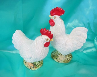 Vintage Leghorn Rooster and Hen chicken ceramic figurines used fair condition