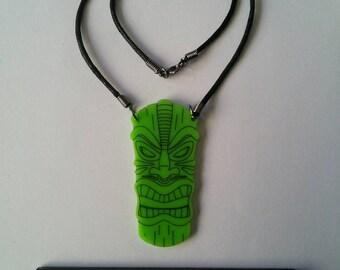 Acrylic engraved tiki mask necklace