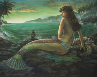 Hawaiian Mermaid sea turtle Vintage Fantasy Art Giclee 16 x20 large print