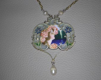 Art Nouveau Silver(900) Plique-a-Jour and enamelled necklace