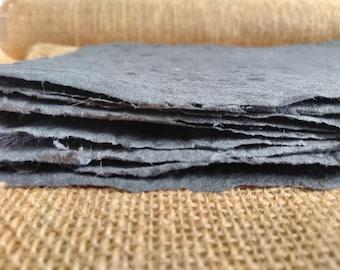 Handmade Faded Black / Dark Grey Recycled Paper Sheets