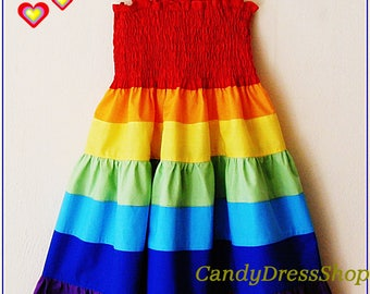 Girls Rainbow dress, Rainbow Maxi dress, Rainbow party dress, Rainbow Tiered Dress(Available in sizes 12-18m.to 9 years) From CandydressShop