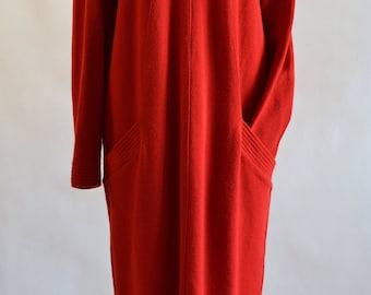 Adrienne Vittadini // 1980s vintage wool red dress // Sweater dress long sleeves