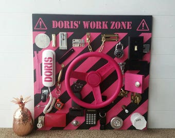 Busy board *pink caution stripe steering wheel style* girls version busy board lock and latch toy for b toddlers and kids  girly work zone