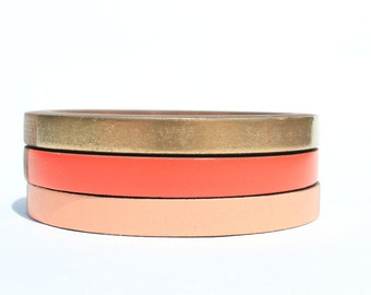 Florence Skinny Bangle Set/ Wood Bracelet Trio/ Stacking Bangles/ Bands of Color/ Painted/ xs-xl