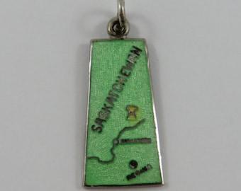 Map of Saskatchewan With Green Enamel Sterling Silver Vintage Charm For Bracelet