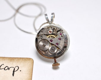 Steampunk Vintage Watch Imperial Corp. Watch Movement Necklace Pendant Silver Plate Chain 00156