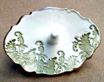 Ceramic Ring Holder with ferns 3  1/4 inches OFF WHITE gold edged