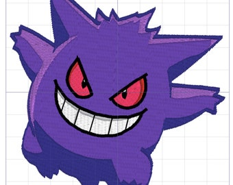 Gengar Pokemon Embroidery Design