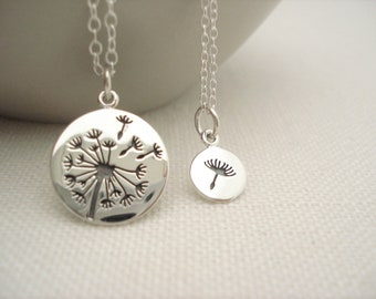 Sterling silver Dandelion set Necklace...Matching Mother and Daughter necklace set, Nature jewelry, Delicate tiny seed, Bridesmaid gift