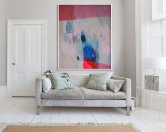 """Large abstract print, red and blue giclée print of painting,  """"The Red Stiletto Girl"""""""