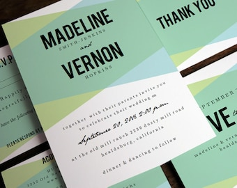 Printable Wedding Invitation Set - Geometric Wedding Invitation - Blue Green Wedding PDFs - Wedding Stationery Printables - Geometric