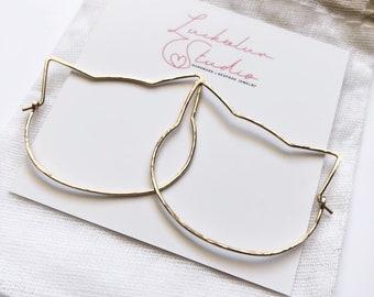 Cat Earrings - Hoop Earrings, Cat Lover Gift, Cat Jewelry, Cat Earring, Pet Jewelry, Gift for Cat Lover, Cat Mom, Gift for Her