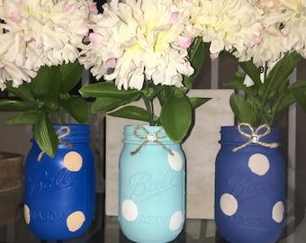 Mason Jars| Home Decor| 3 blues Polka Dot|Centerpieces