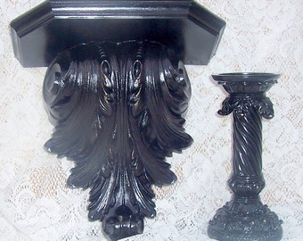 Black ornamental shelf and matching candleholder paris apartment shabby chic upcycled hand rubbed