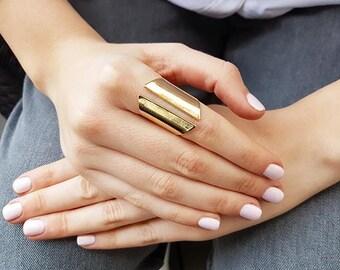 Gold long ring, Chunky ring, Open ring, Large ring, Cuff ring gold, Adjustable ring, Big ring, Statement ring, Boho ring, Geometric ring
