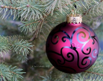 Glass Hand Doodled Ornament, cranberry, black swirls
