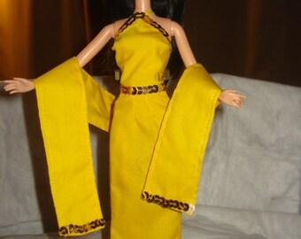 Jaune vif & or paillettes 3 pièces ensemble officiel pour POUPEES mannequins - ed460