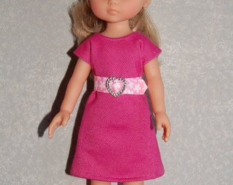 """Doll Clothes Pink Dress and removable belt TKCT513 handmade fits Corolle 13"""" Les Cheries or 14"""" Heart for Hearts READY TO Ship"""