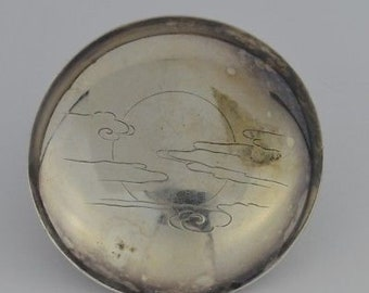Sterling Silver 925 Estate Japanese Etched Sun & Clouds Bowl 70.9 Grams
