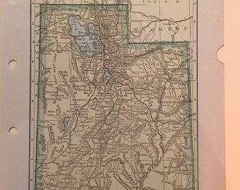 Utah Map 1935 Vintage antique