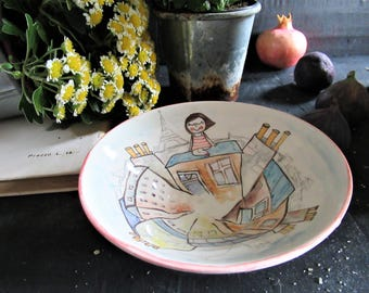 Handmade ceramic bowl with illustration of Paris rooftops