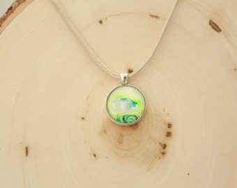"""1"""" Silver and Glass Necklace Pendant #24 Neon Yellow"""