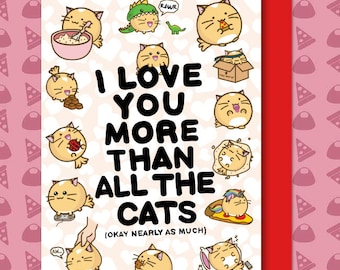 I Love You More Than All The Cats Valentine's Card  Baking Anniversary boyfriend husband wife Kawaii Love Fuzzballs Greeting Relationship