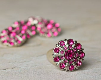 5 Hot Pink Rhinestone Buttons - Emma Button - 25mm - Plastic Buttons - Acrylic Buttons
