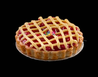 Dollhouse Miniatures Handcrafted Clay Cherry Round Deep Filled Lattice Pie on Aluminum Dish - 1:12 Scale
