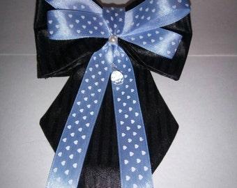 Dog Necktie Set - Black Tie with Black & Blue Bow tie - No Buckle Dog Adjustable Collar -  dog tie