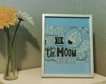 """Framed Quote: """"I Love You to the Moon and Back"""""""