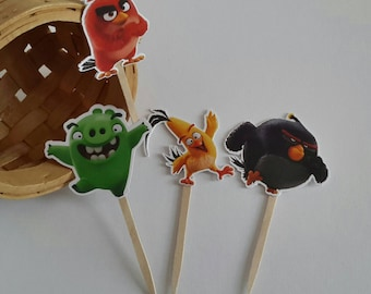 Angry Birds Cupcake Topper 12 Ct, Boy Party Decoration, Angry Birds Birthday Decoration.