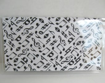 Musical Notes Checkbook Cover - Vinyl Checkbook Holder - Music Notes Cash Holder - Black White Music Notes - Duplicate Check Book Cover