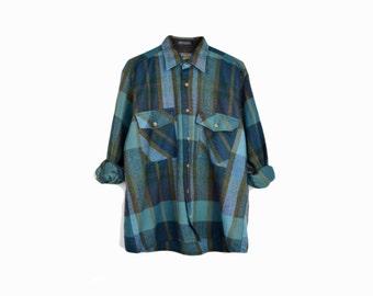 Vintage 80s Blue & Green Plaid Flannel Shirt / 1980s Lumberjack Shirt - men's medium