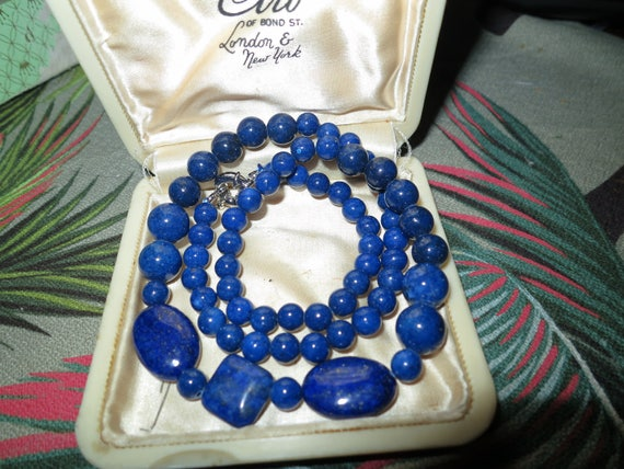 Lovely 8mm Blue   Lapis Lazuli Gemstone Necklace 18""