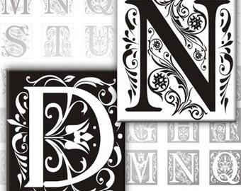 Vintage Ornate Initials Black and white Alphabet Letters 0.75 x 0.83 inches digital collage sheet Monogram (136) Buy 3 - get 1 bonus