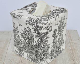 Black toile reversible tissue box cover