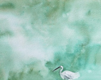 painting of egret Modern wall decor Modern room decor modern snowy Egret Bird PRINT  Bird Watercolor Painting bird aqua rust emerald