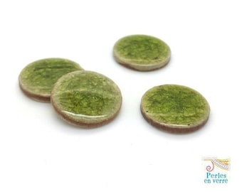 2 light green cracked ceramic cabochons 20mm stick (cab107)