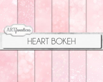 "Bokeh digital papers ""HEART BOKEH"" paper, pink background, bokeh, bokeh hearts, perfect for photographers, scrapbooking, blogs, and more"