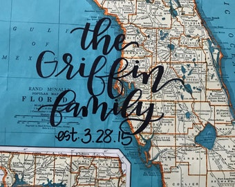 Connecticut & Florida | personalized calligraphy map | original vintage map | calligraphy map | custom calligraphy map