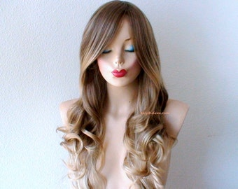Brown/Blonde Ombre wig. Lace front wig. Long curly hair long side bangs Durable Heat resistant wig for daytime use or Cosplay.