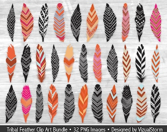 Tribal Feathers Clipart Bundle 32 Colorful PNG Native Clipart Graphics Digital Boho Scrapbooking American Indian Aztec Feather Clip Art